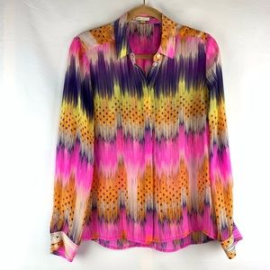 Leifsdottir neon print 100% silk button down top